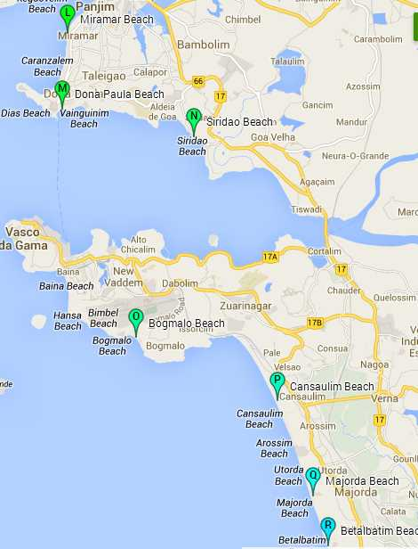 Central Goa Beaches: Map of beaches in Central Goa
