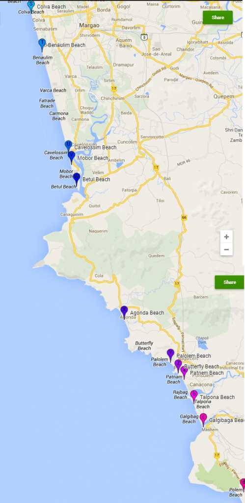 South Goa beach Map:  Beaches in South Goa