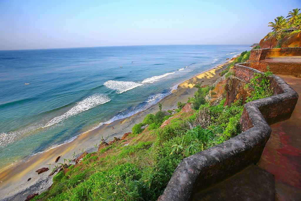 Beaches and cliffs in Varkala, tourist places in South India
