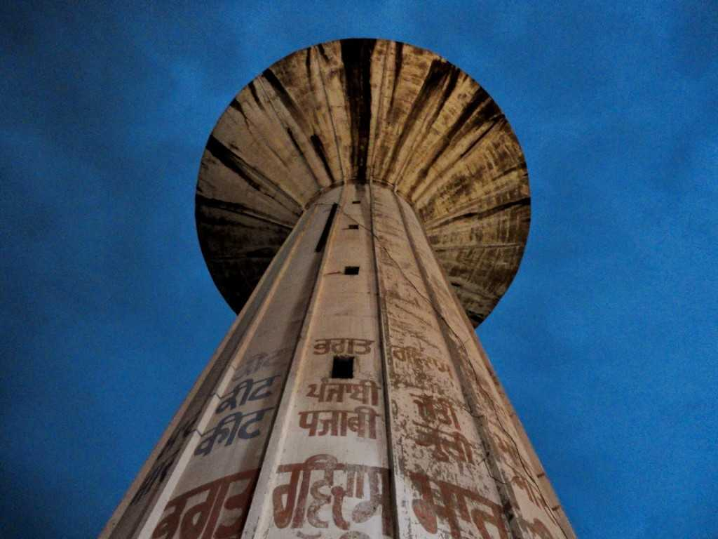 A water tower outside the temple.