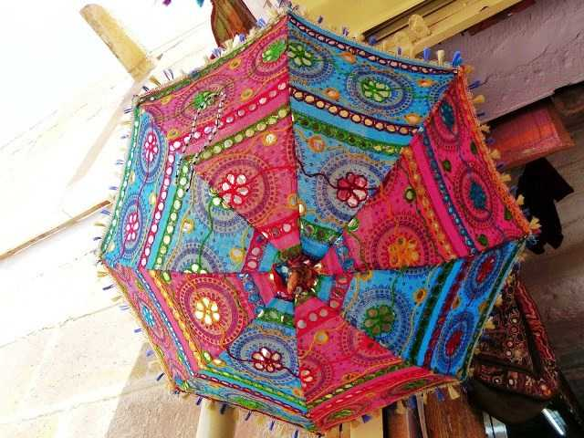 Colorful Umbrellas inside the shops in Jaisalmer Fort