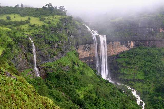 Waterfalls in Malshej Ghat near Mumbai in monsoon