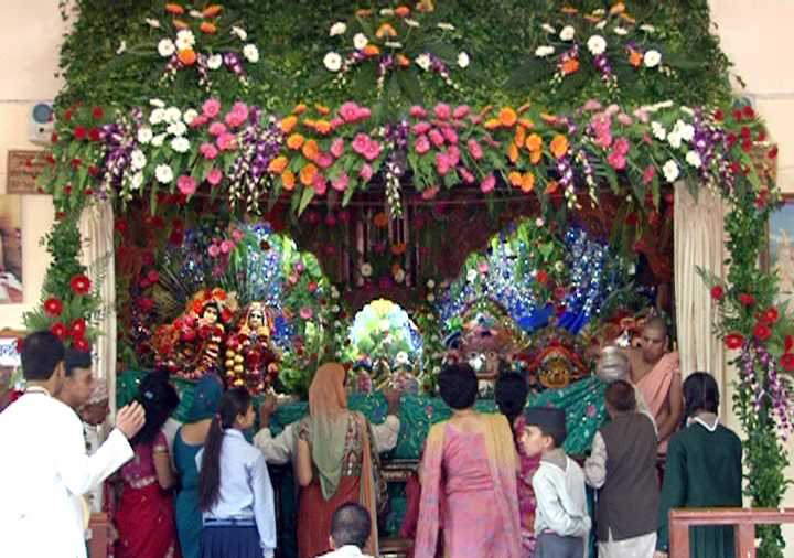Temple decorated for Janmashtami (Source)
