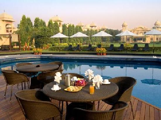 Pool side by the Manesar Spa and Resort, places to visit near delhi for a day