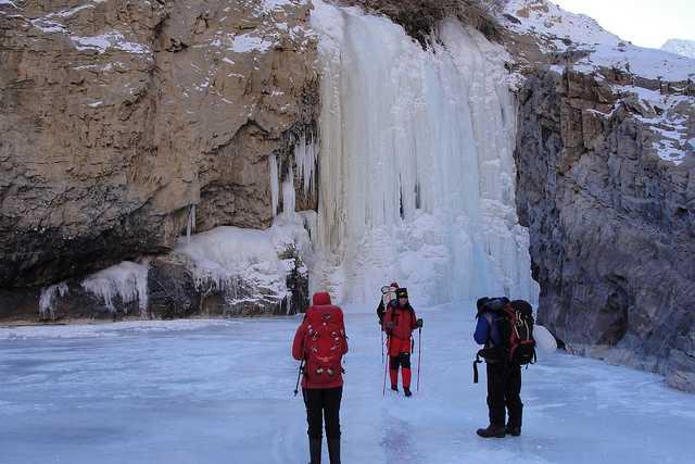 Nerak's massive waterfall, chadar trek