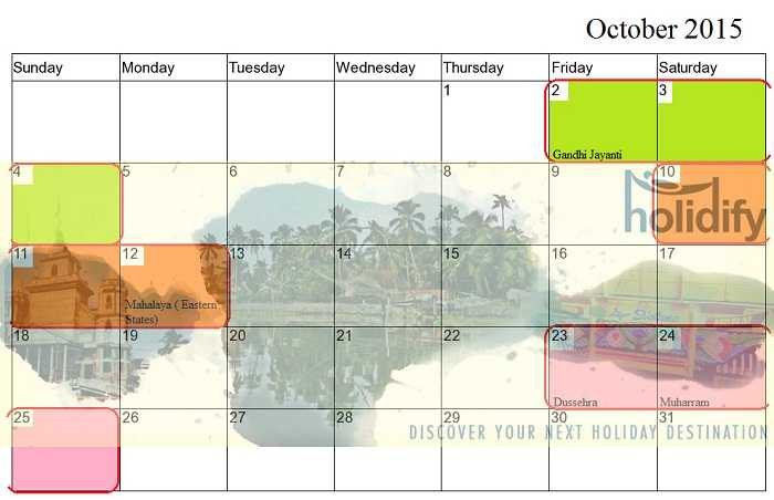 October Weekend Plans, Long Weekends India