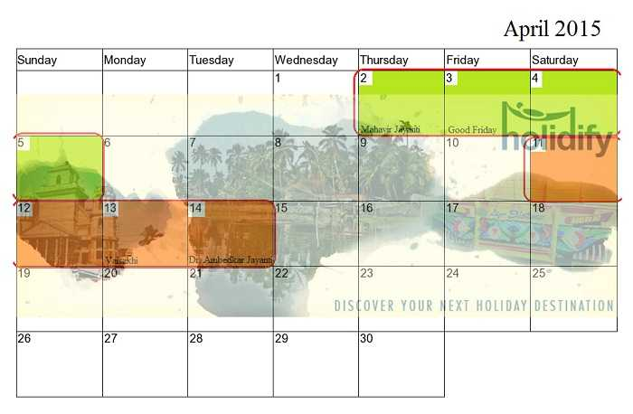 Holiday Calender 2015 India, april long weekends
