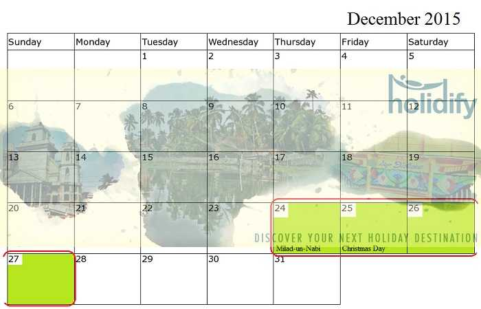 December Holidays 2015, long weekends in 2015 India