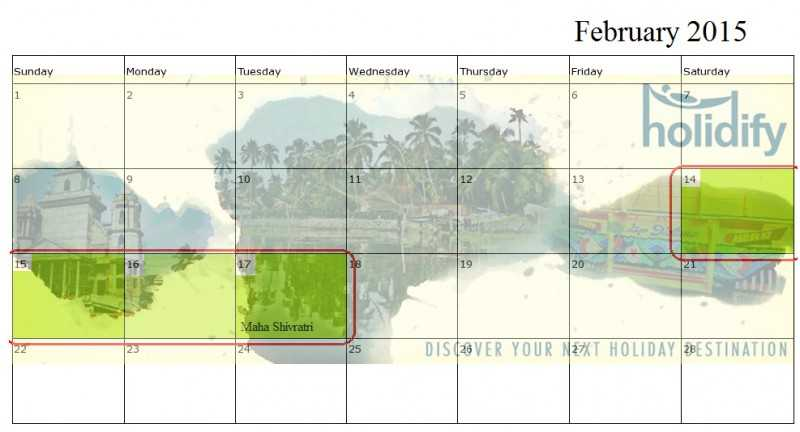 Holiday Calender 2015 India, february long weekends