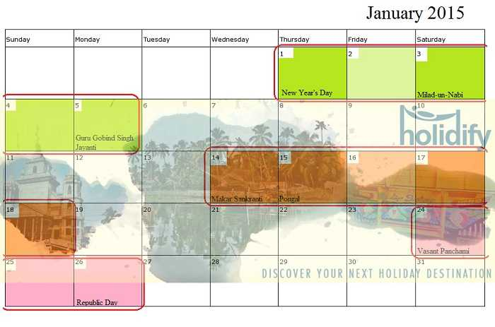 January Holiday Calender, Long Weekends in 2015 India