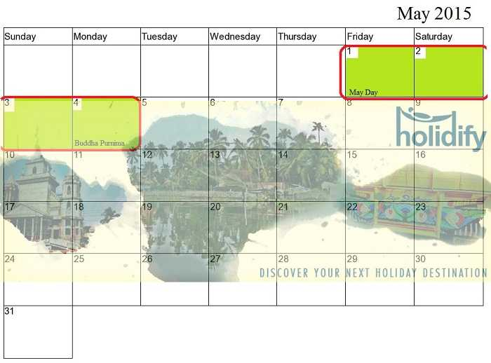 May Holiday Calender, Long Weekends in 2015 India