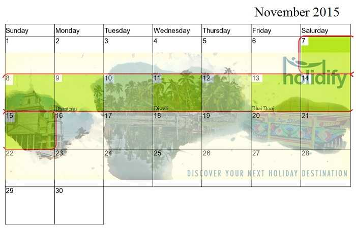 November Long Weekends, Long Weekends India 2015
