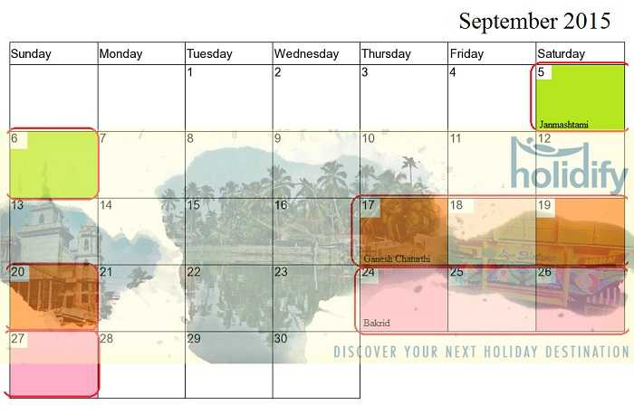September Holidays, long weekends in 2015 India