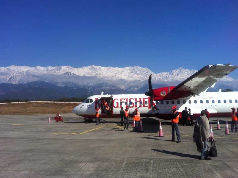 Kangra airport in India, in the laps of Himalayas