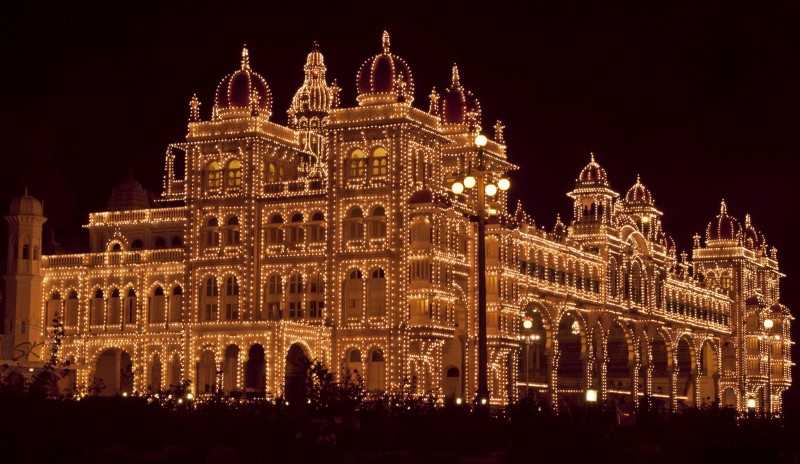 Mysore Palace during Dasara Indian Festivals in October 2017