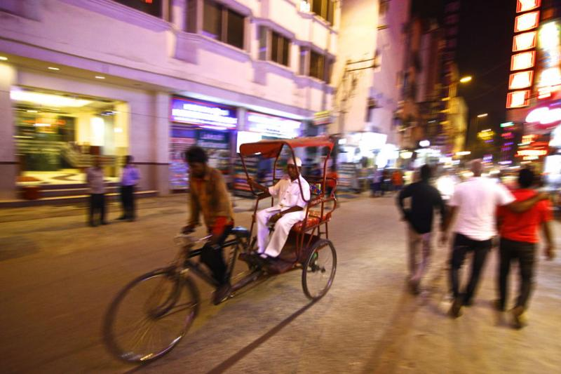 October 21 – Neon lights of Paharganj in New Delhi