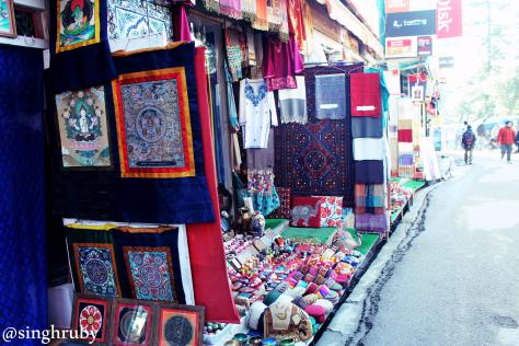 Colorful shops down the lane of the main market.