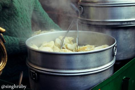 Steaming hot momos
