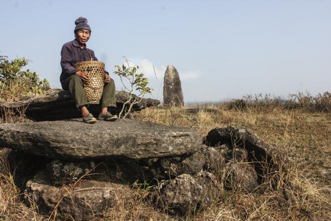 Somewhere in Janita hills, the tribal men enjoys his monolithic view