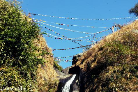 Flags at Bhagsu Falls