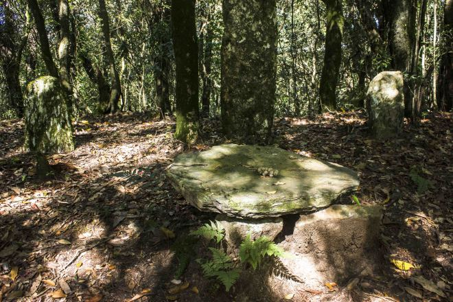 The table stone and Monolith in Mawphlang or sacred forest