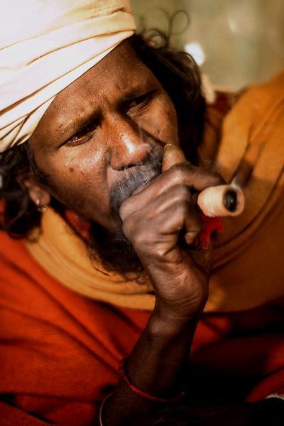 Baba smoking some 'Baba' (Source)