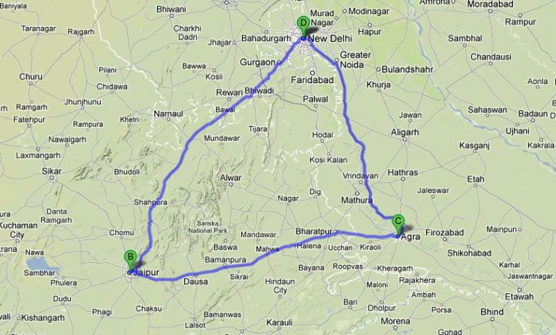Golden Triangle Tour India Route Map