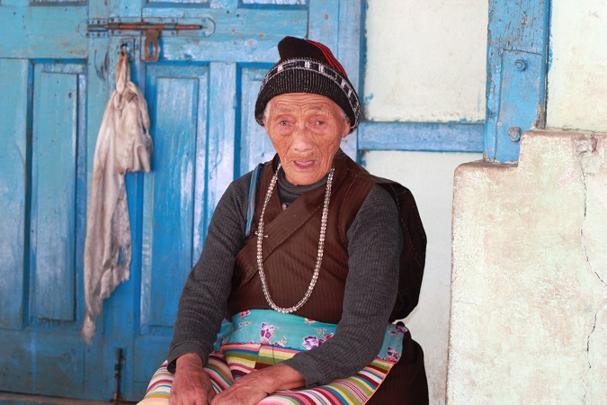The 100 yr old Monpa lady -close to Lumla, near the Bhutan border