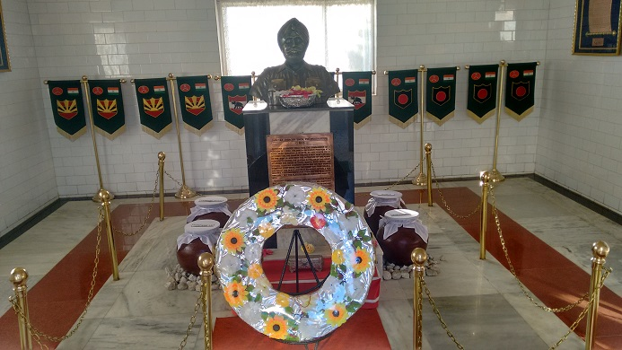 Martyr Joginder Singh's bust inside the war memorial at Tawang