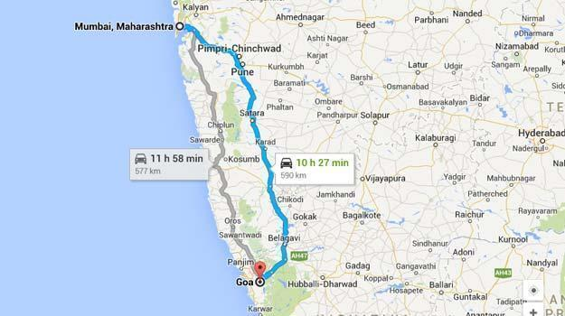 map mumbai to goa distance for road trip