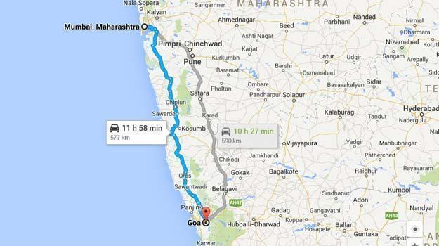 Mumbai To Goa Distance on Map