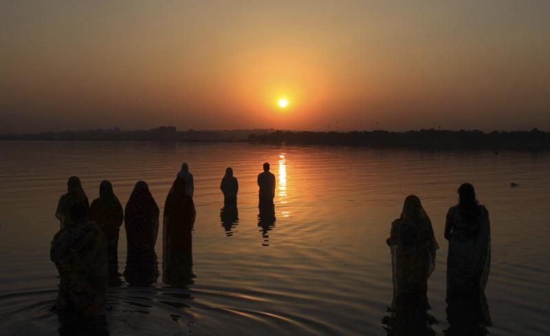 Praying at Sunset, Chhath Puja 2018