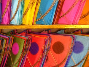 Colourful kites all ready to be sold for Uttarayan