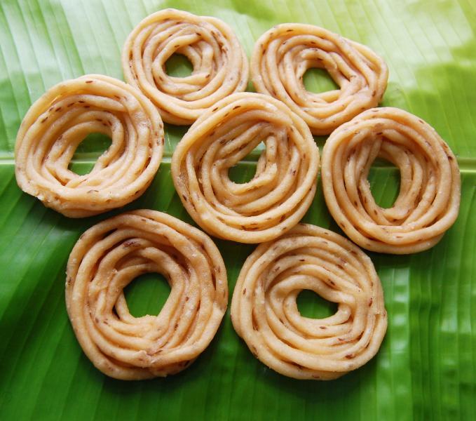 Muruku on  banana leaf, Tamil Nadu Food