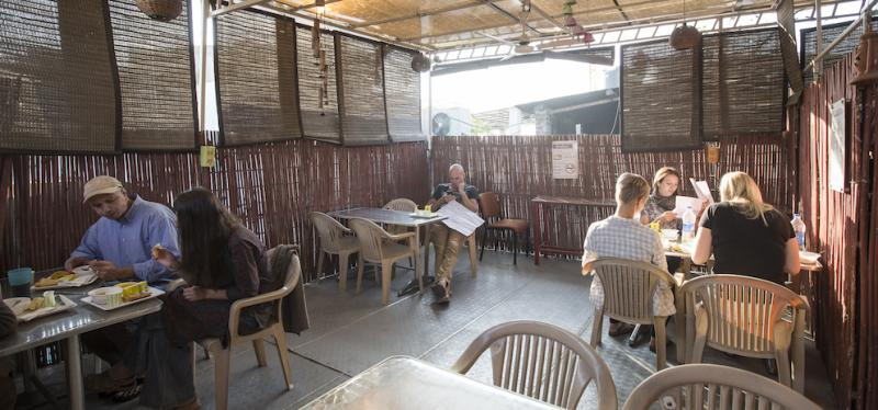 Complimentary breakfast and tea at Smyle Inn, a backpackers hostel in India