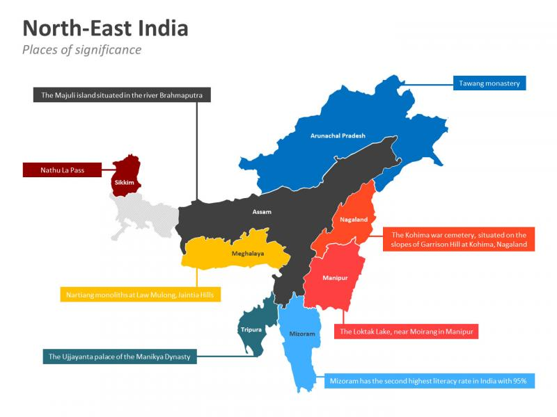 northeast india map, ecotourism in India