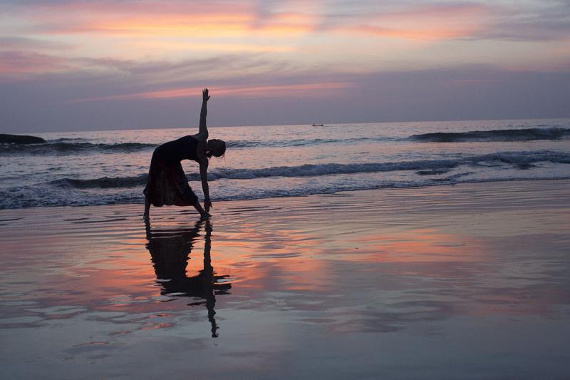 Yoga at sunset, Agonda Beach