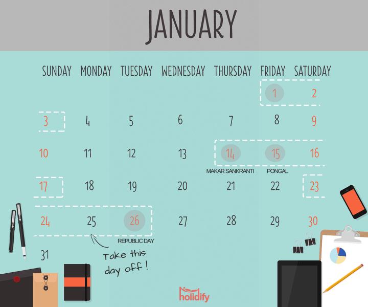 Holiday Calendar January 2016