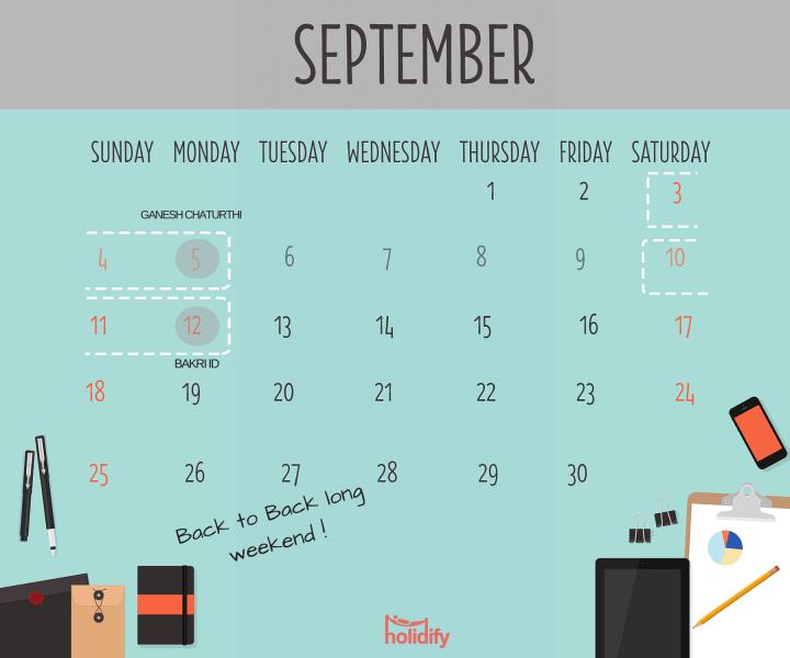 Holiday Calendar September 2016