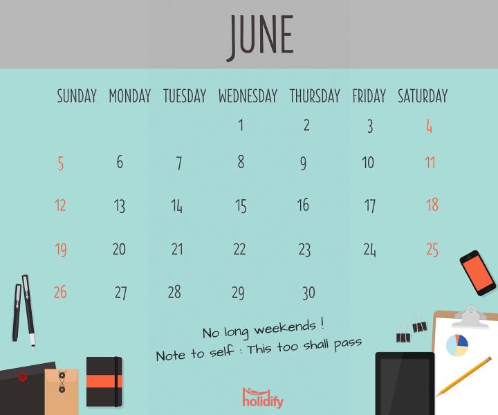Holiday Calendar June 2016