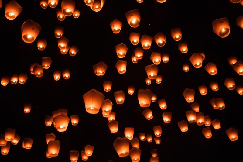 Lanterns let out into the night sky of Goa around New Years