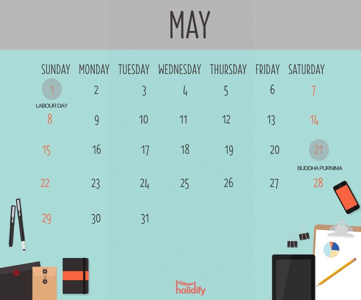 Holiday Calendar May 2016