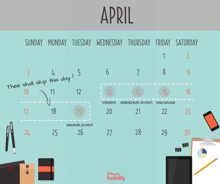 Holiday Calendar April 2016
