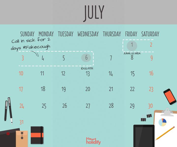 July 2016 Holiday Calendar