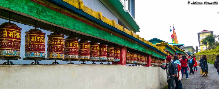 Prayer wheels at the monastery