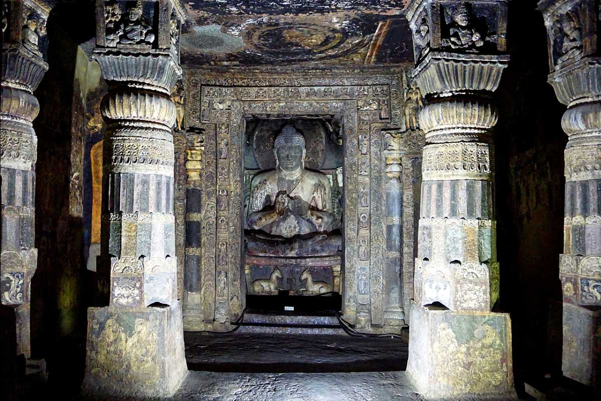 Exterior view and inside the hall with seated Buddha statue, Cave 17