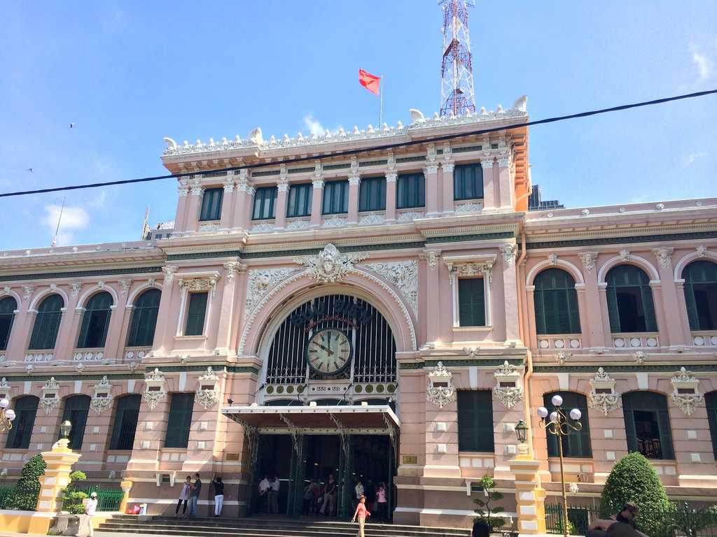 Saigon Central Post Office exhibits French Influence on Architecture in Vietnam
