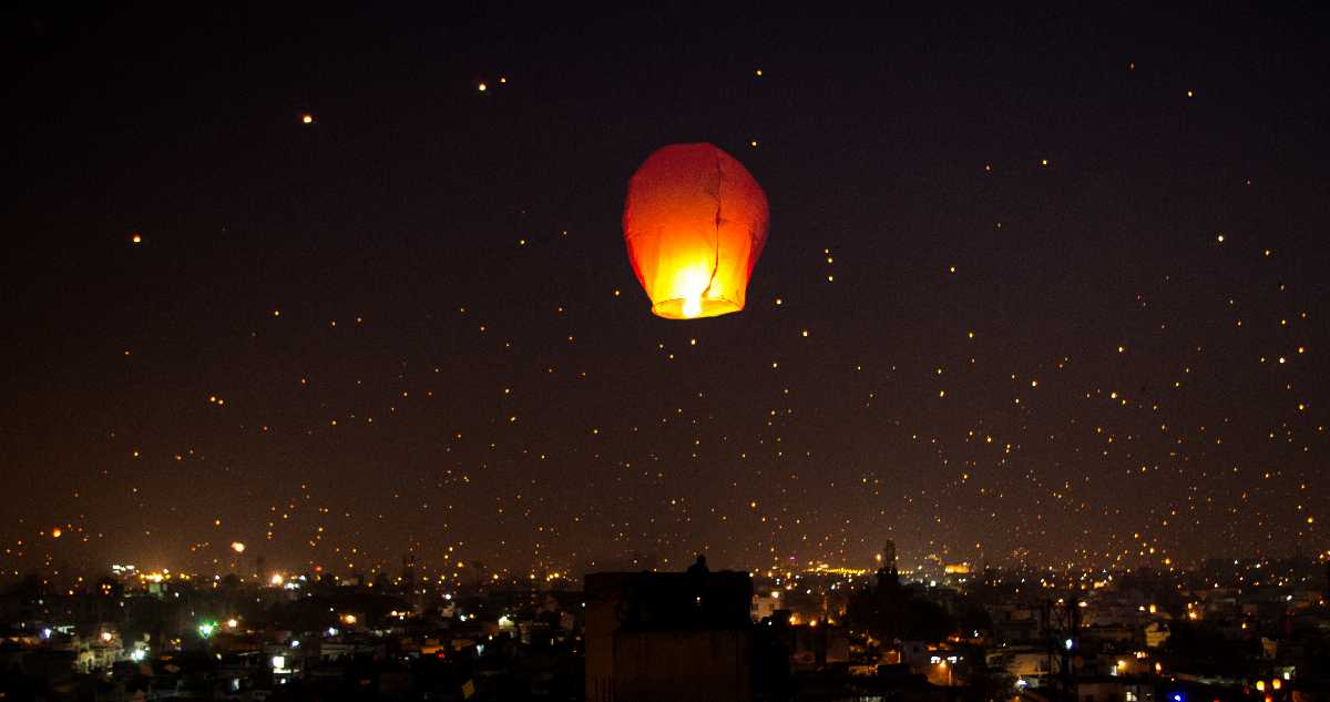 Night sky during Uttrayan, Kite Festivals in India