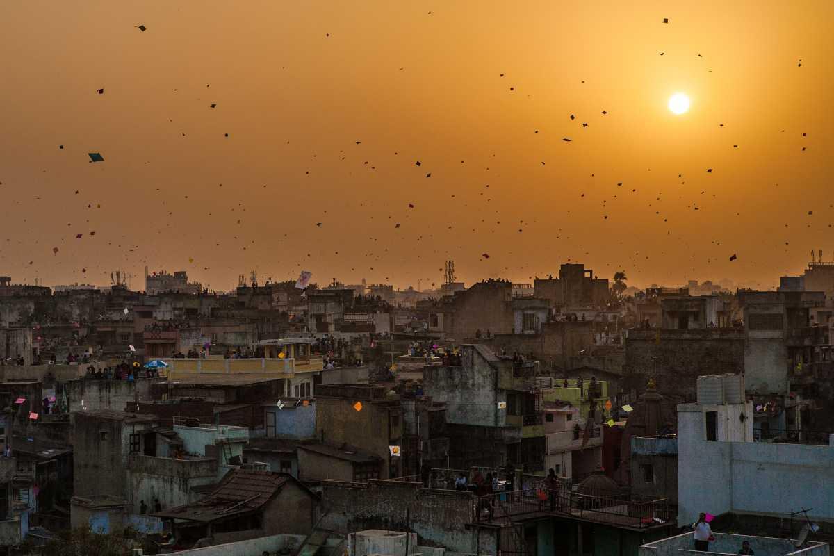 Sunset in Ahemedabad, Kite Festivals in India