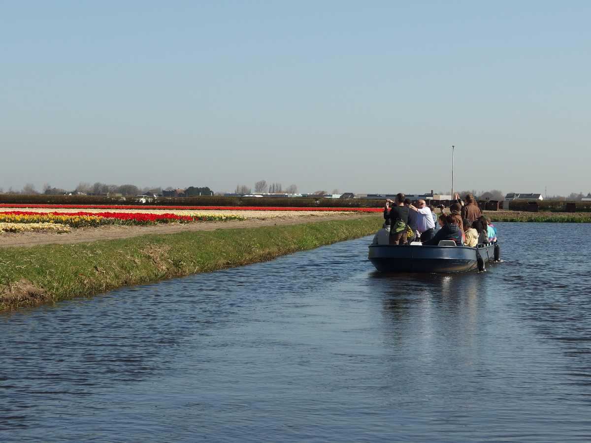 People enjoying the cruise tour with the beautiful view of tulip fields at Keukenhof